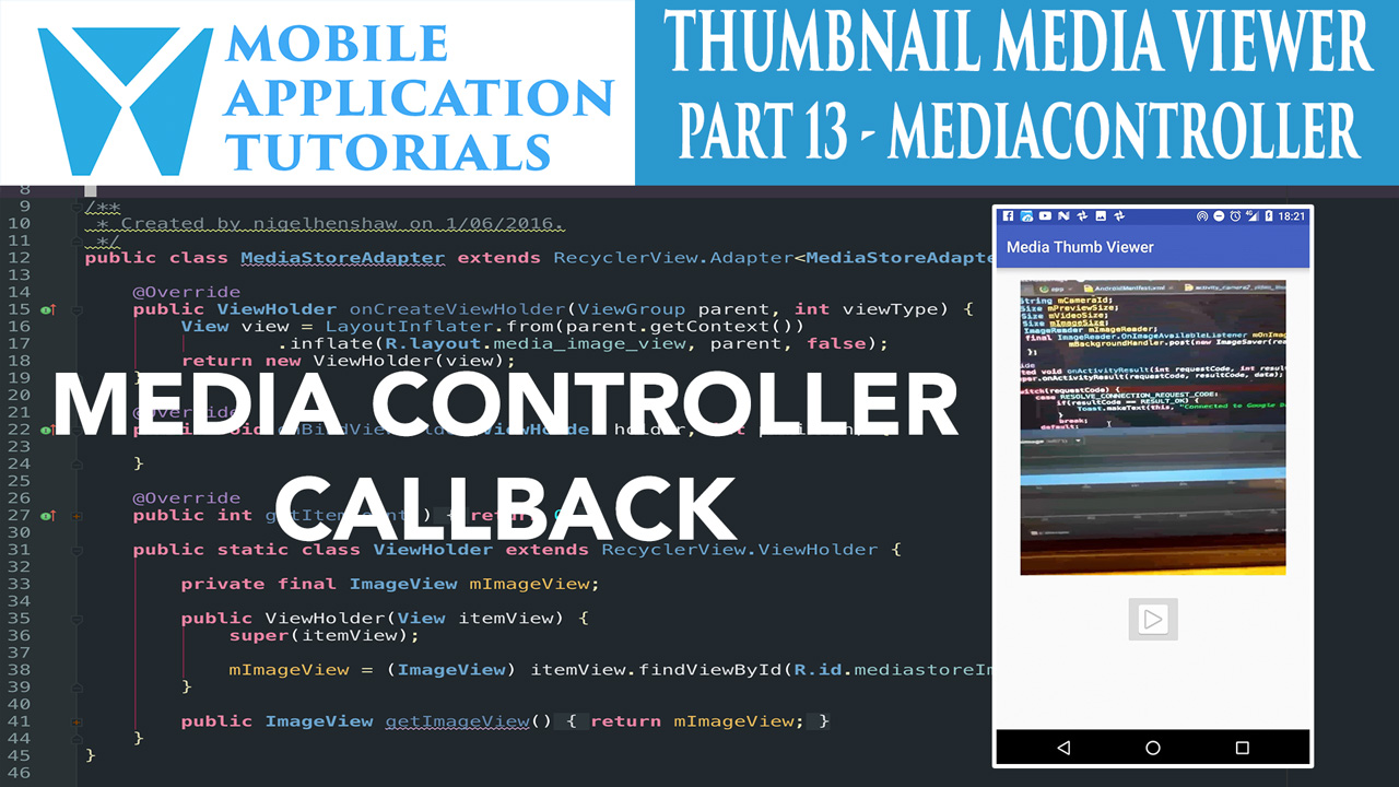 Android media viewer mediaplayer MediaControllerCompat - Nige's App Tuts